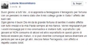 """Massimiliano Latorre su Facebook: """"Ragazzi, non bevete alcol"""""""