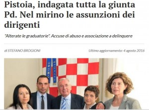 """Pistoia, La Nazione: """"Indagata tutta la giunta Pd"""""""
