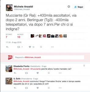 Guarda la versione ingrandita di Michele Anzaldi su Twitter sui casi di Flavio Mucciante e Bianca Berlinguer