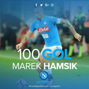 "Hamsik 100 gol con Napoli: ""Bellissimo traguardo ma conta squadra"""