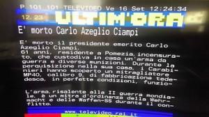 """Televideo Rai, gaffe: """"In casa Carlo Azeglio Ciampi mitragliatore delle SS"""""""