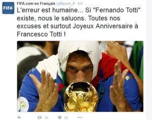"""""""Buon compleanno Fernando Totti"""": gaffe del twitter della Fifa"""
