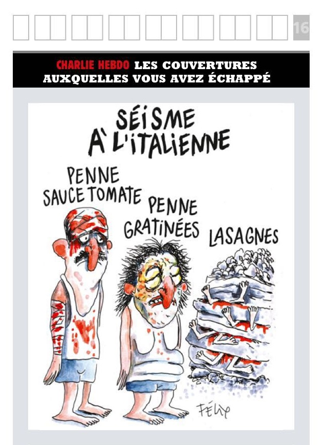 Terremoto Centro Italia, vignetta choc di Charlie Hebdo 01