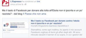 Ebola: per l'Espresso, Facebook è razzista