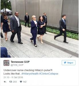 Hillary Clinton gira con l'infermiera in incognito3