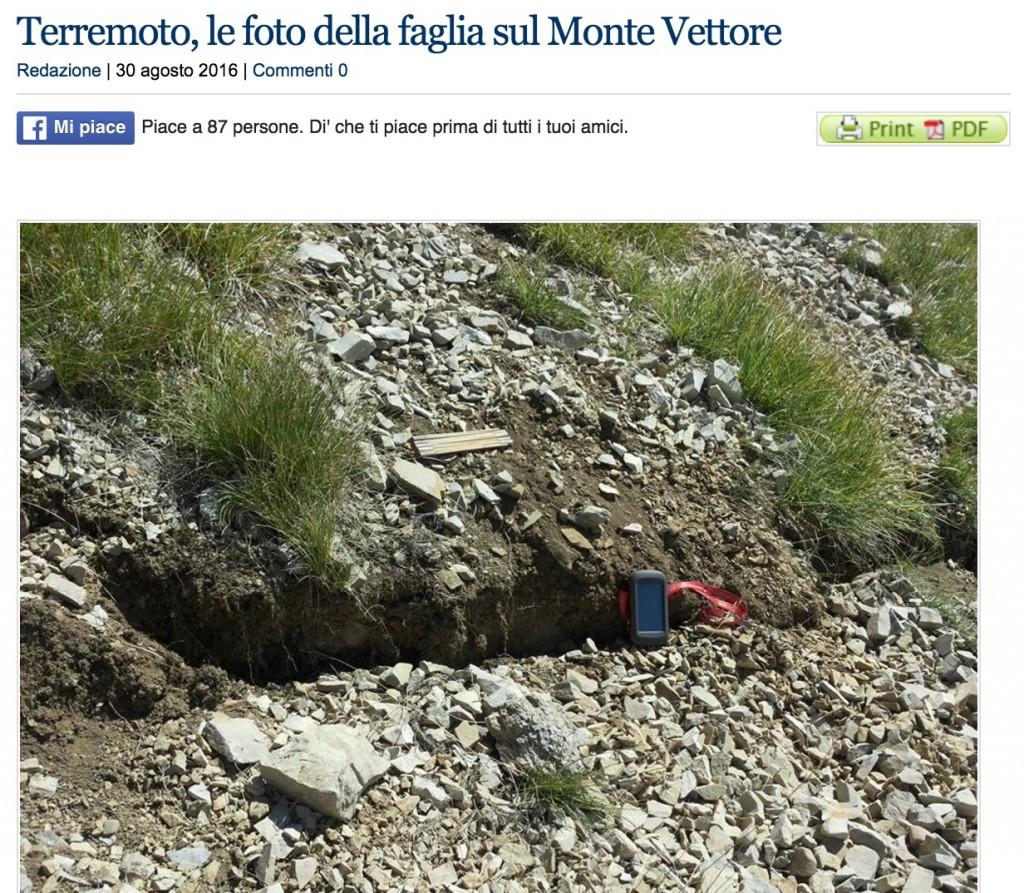 Terremoto, nuovi dati di COSMO-SkyMed: scivola 10 centimetri versante del Vettore