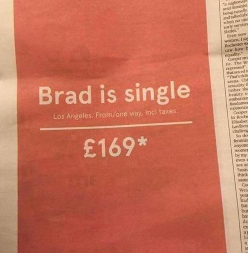 """""""Brad Pitt è single: vola a Los Angeles"""". Pubblicità Norwegian FOTO"""