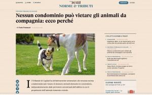 Guarda la versione ingrandita di Animali in condominio: nessuno li può vietare, ecco perché (Sole 24 Ore)