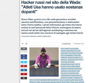 """Atleti Usa con doping """"giustificato"""" alle Olimpiadi di Rio? Hacker russi violano sito Wada e pubblicano le prove"""