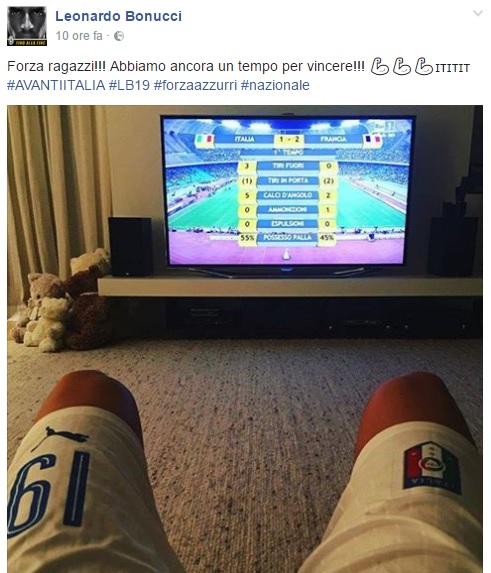 """Leonardo Bonucci con la Nazionale sui social: """"Forza ragazzi"""""""