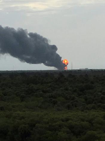 Handout of an explosion on the launch site of a SpaceX Falcon 9 rocket is shown in Cape Canaveral