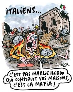 """Charlie Hebdo, nuova vignetta: """"Italiani, le case ve le ha costruite la mafia"""""""