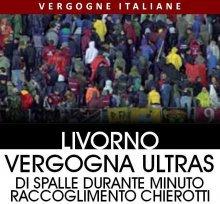 Livorno, curva volta le spalle nel minuto di silenzio per Chierotti