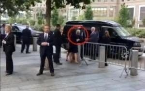 Un frame tratto da Sky Tg 24 del malore di Hillary Clinton mentre abbandona prima del previsto la cerimonia per le vittime dell'11 settembre, perché colta da un lieve malore, poi attribuito al caldo. La candidata democratica alla Casa Bianca si trova sul marciapiede, in attesa dell'auto che dovrà portarla via. E' in piedi, ma sorretta da un membro del suo staff. Appena arriva il veicolo, viene portata lentamente verso l'interno, ma è barcollante, tanto da venir sorretta da due agenti della sicurezza. New York, 11 settembre 2016. ANSA/ SKY TG 24 +++ ANSA PROVIDES ACCESS TO THIS HANDOUT PHOTO TO BE USED SOLELY TO ILLUSTRATE NEWS REPORTING OR COMMENTARY ON THE FACTS OR EVENTS DEPICTED IN THIS IMAGE; NO ARCHIVING; NO LICENSING; NO TV +++