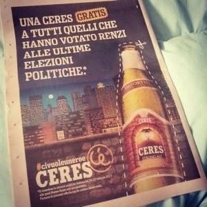 La birra Ceres prende in giro chi ha votato Renzi in una pubblicità
