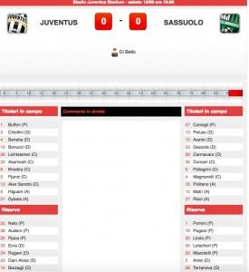 Guarda la versione ingrandita di Juventus-Sassuolo diretta live su Blitz. Formazioni ufficiali - video gol highlights