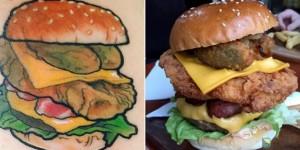 Tatuaggio con hamburger su menù, fast food ti regala panini a vita4