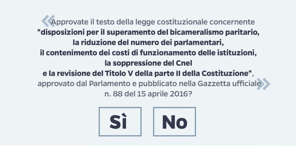 Referendum ecco la scheda: è il testo della legge
