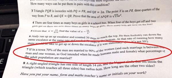 """Problema di matematica """"omofobo"""": scuola chiede scusa FOTO"""