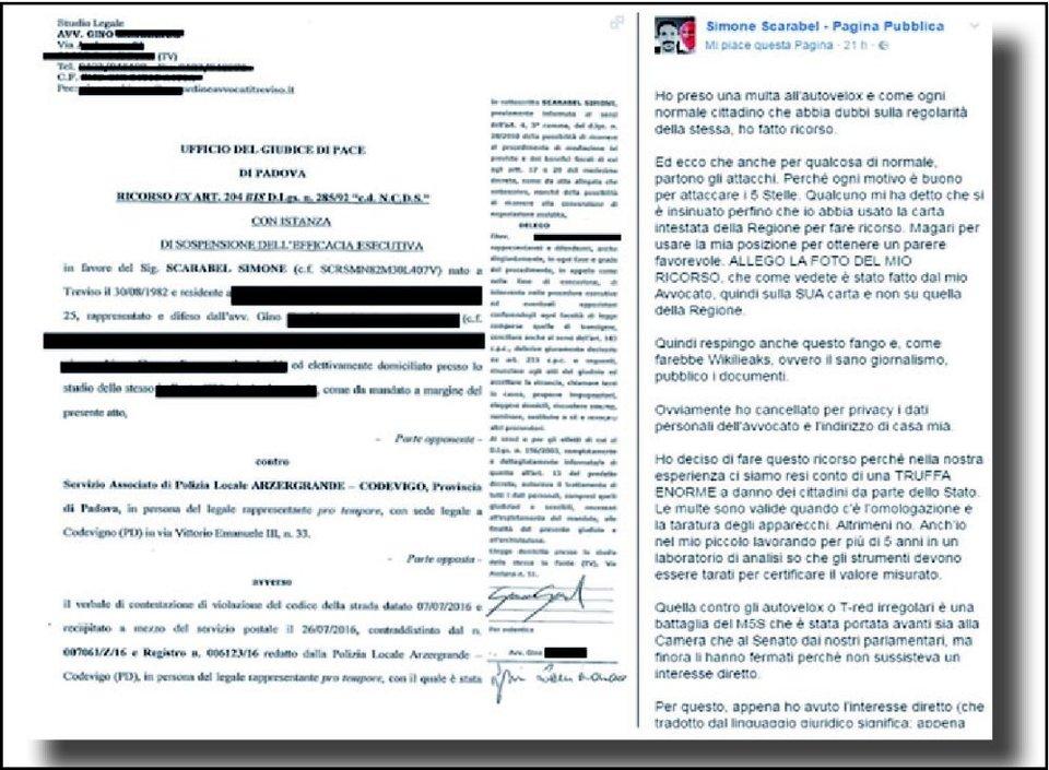 """Simone Scarabel, politico M5S: """"Toglietemi la multa"""". Poi la paga, ma..."""