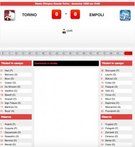 Torino-Empoli diretta live su Blitz. Formazioni ufficiali-video gol highlights