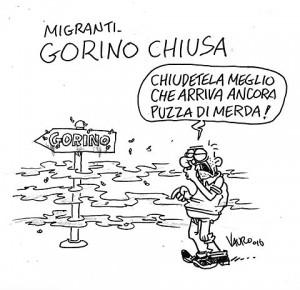 """Gorino e Goro, barricate contro migranti. Vignetta Vauro: """"Chiudete meglio che arriva ancora puzza di m..."""""""