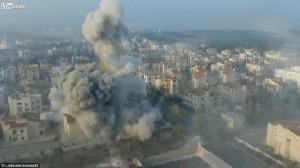 Missile che colpisce Aleppo ripreso dal drone 8