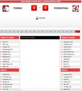 Torino-Fiorentina diretta live. Formazioni ufficiali