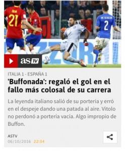 Italia-Spagna, As parla di 'Buffonada': che papera per Buffon