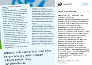"""Curva Nord contro Mauro Icardi: """"Togliti fascia capitano pagliaccio"""". Calciatore risponde su Instagram"""