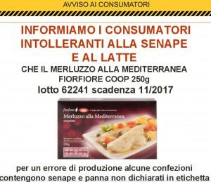 Coop ritira merluzzo alla mediterranea FiorFiore: contiene latte e senape