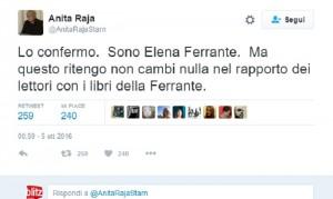"""Anita Raja su Twitter: """"Sono Elena Ferrante"""""""