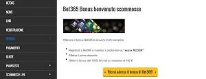 Guarda la versione ingrandita di Il bet365 bonus per scommettere in diretta sul calcio e sullo sport