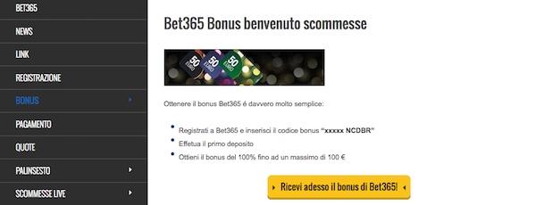 Il bet365 bonus per scommettere in diretta sul calcio e sullo sport