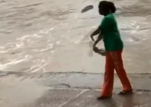 YOUTUBE Donna caccia via il coccodrillo a colpi di...ciabatta
