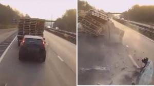 Camionista non si accorge della fila e tampona auto distruggendola3