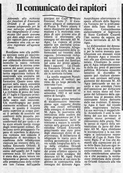 """Ecco la voce del """"rapitore"""" di Emanuela Orlandi, reperto del 1983, chiaramente un falso 2"""
