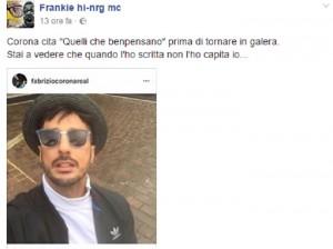 """Fabrizio Corona cita Frankie Hi Nrg e lui: """"Stai a vedere che non mi sono capito"""""""