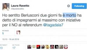 """""""Berlusconi è morto due giorni fa"""": tweet gaffe di Laura Ravetto"""