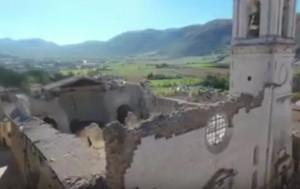 Guarda la versione ingrandita di Terremoto Norcia: drone mostra danni Basilica San Benedetto