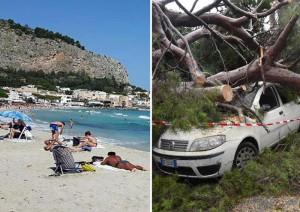 Due foto scattate ieri: alcune persone in spiaggia a Mondello e i danni a Genova