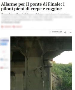 Ponte Finale pieno di crepe e ruggine: dopo il crollo di Lecco è allarme
