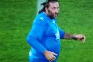 Guarda la versione ingrandita di Christian Riganò sovrappeso, la foto alla Partita Mundial per Batistuta