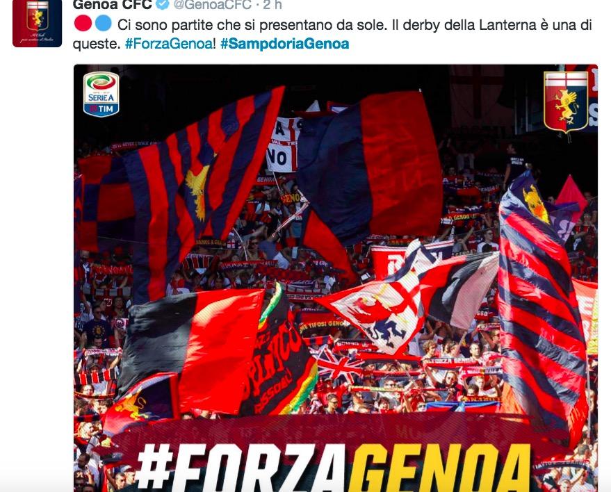 Sampdoria - Genoa, il Twitter sul derby del Genoa