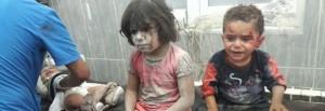 Bimbo siriano ricoverato piange traumatizzato