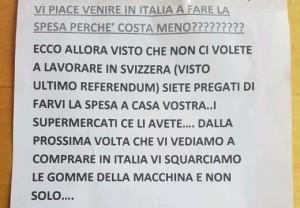 """Guarda la versione ingrandita di Italiani minacciano gli svizzeri: """"Se fate spesa qui vi squarciamo le gomme e non solo"""""""