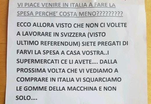 """Italiani minacciano gli svizzeri: """"Se fate spesa qui vi squarciamo le gomme"""""""