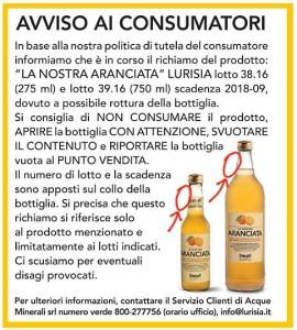 """Lurisia, """"La nostra Aranciata"""" ritirata: rischio di rottura della bottiglia"""