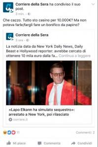 Lapo Elkann arrestato, gaffe Corriere della Sera su Facebook