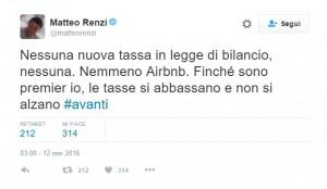 Airbnb salvo, niente nuove tasse nella manovra: parola di Renzi